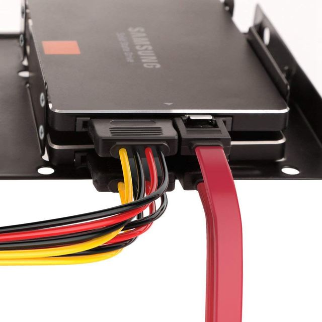 hot-2X 2.5 inch SSD to 3.5 inch Internal Hard Disk Drive Mounting Kit Bracket (SATA Data Cables and Power Cables Included) 2
