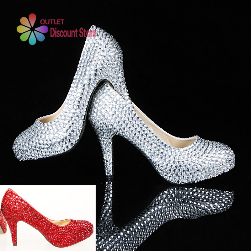 wholesale clear sivler prom shoes with rhinestone white