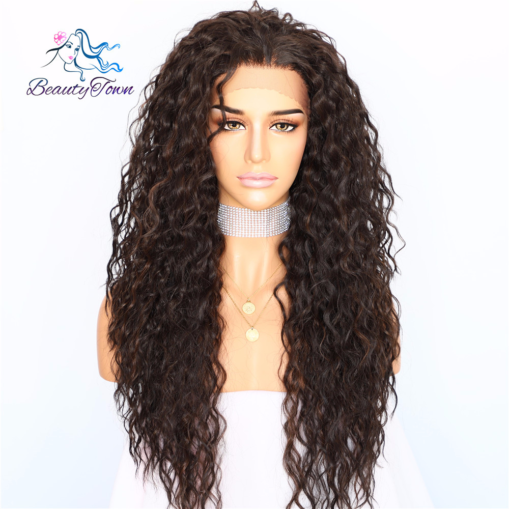 BeautyTown Kinky Curly Type Futura Heat Resistant Hair Black Highlight Gold Women Daily Makeup Synthetic Lace Front Party Wig(China)