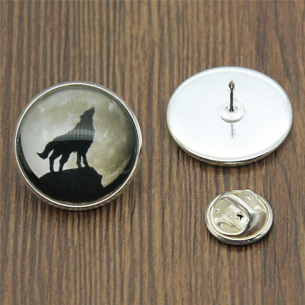 2 Colori Di Moda Howling Wolf 20 Millimetri Di Vetro Cabochon Spilla Spilli Donne Corpetto Distintivo Vestito Cappotto Accessori Ricambio Senza Costi A Qualsiasi Costo