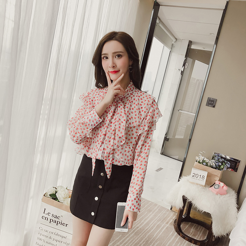 Spring Korean Version Chiffon Women Shirt 2018 New Style Summer Lotus Leaf Edge And Bow Designs Female Simple Fashion Blouses-in Blouses & Shirts from Women's Clothing on AliExpress - 11.11_Double 11_Singles' Day 1
