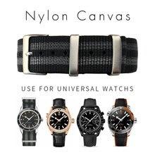Pulseira esportiva universal de nylon, pulseira de relógio de náilon para uso esportivo de omega espaguete, paquímetro, acessórios, 20mm, 22mm, islu, nato 007