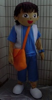 Orange Aslant Package Man We Can Customize Mascot Costume Blue Belly White Waistcoat Boy Mascot Costume