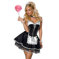 Women Sexy French Maid Costume Sexy Women Exotic Servant Cosplay Dress