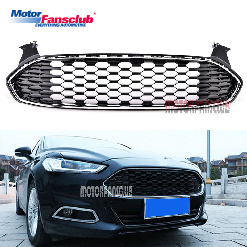 1Pcs Car Racing Grille For Ford Mondeo Fusion Grill 2013-2015 Black ABS Trim Radiator Chrome Front Bumper Modify Honeycomb Mesh 2pcs car racing grille for ford fiesta 2014 2015 2016 grill abs black radiator chrome front bumper upper lower modify mesh