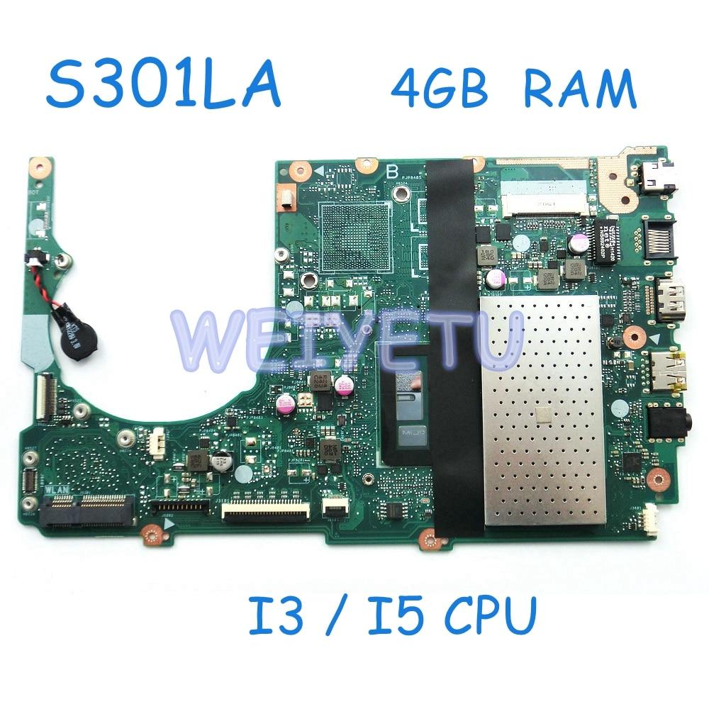 S301LA I3 / I5 CPU 4GB RAM Mainboard For ASUS S301L S301LA Q301L LA Laptop Motherboard REV2.2 90NB02Y0 R00100 Tested Working
