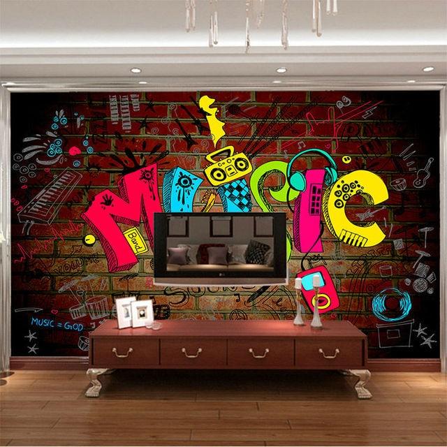 Music Graffiti Photo Wallpaper 3D Wallpaper Bedroom Kid Room Decor Club Bar  Wedding Decoration Fashion Design
