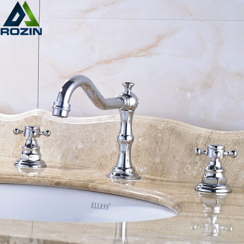 Chrome Widespread Basin Faucet Dual Handle Bathroom Vessel Sink Tao Deck Mounted Longer Spout 3 Holes