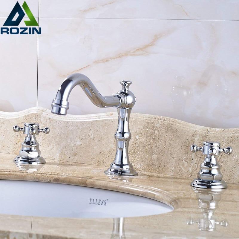 Chrome Widespread Basin Faucet Dual Handle Bathroom Vessel Sink Tao Deck Mounted Longer Spout 3 Holes