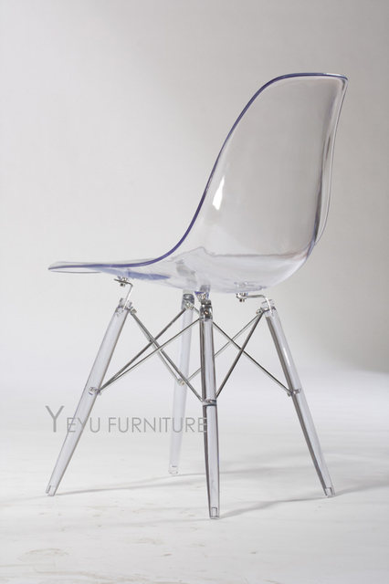 Minimalist Modern Design Transparent Clear Acrylic Plastic Dining Side  Chair, Fashion Design Crystal Chair Modern Home Furniture