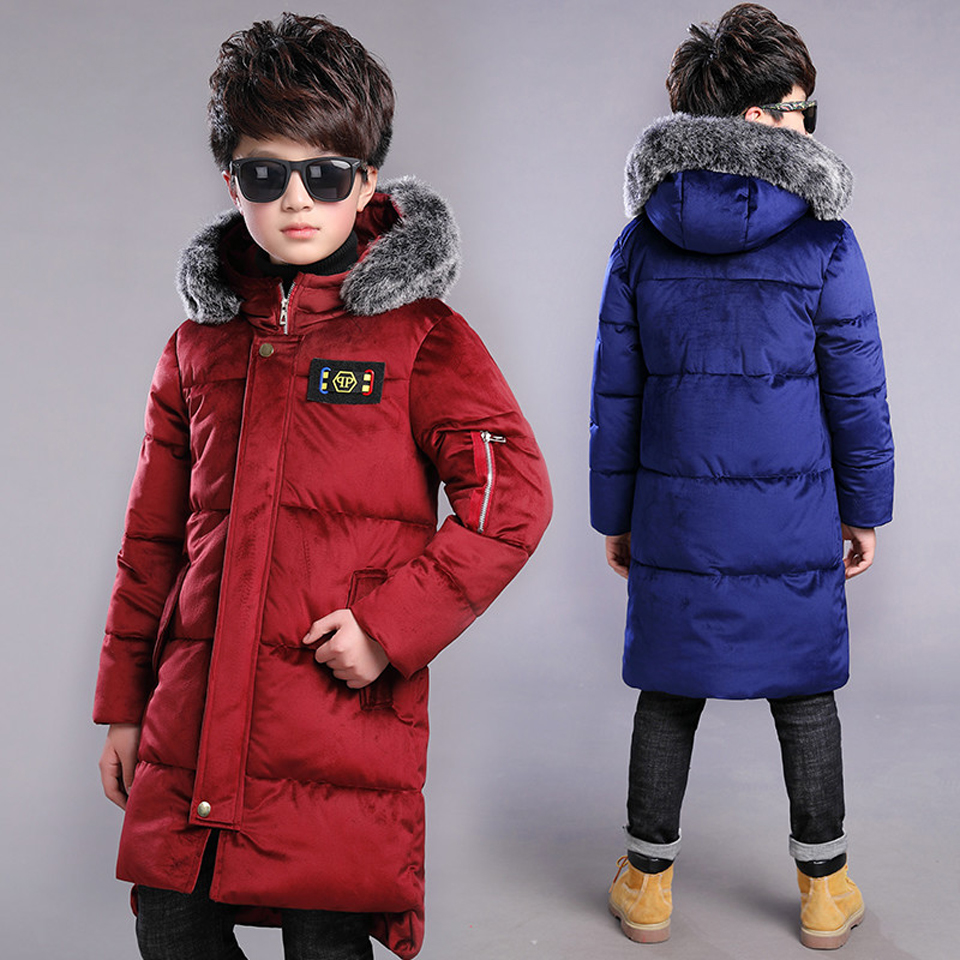 New 2018 Children Winter Jacket Boy Winter Coat Kids Warm Thick Fur Collar Hooded Long Down Coats For Teenage 6 8 10 12 Years children girls winter coat new 2018 fashion fur hooded thick cotton down clothes long kids parka jacket for 6 8 10 12 14 years