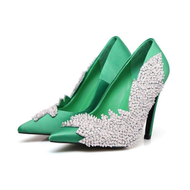 Satin Mariage Printemps Cristal Perles Picture Pompes Hauts Femme Bling Picture as Mode Talons 2018 Feuille Forme Femmes De Chaussures Automne As Shinny XZOPwikuT