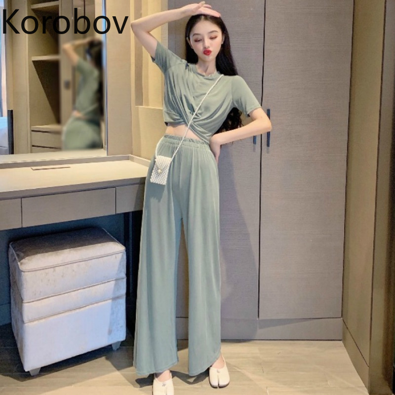 Korobov Women Pants 2 Piece Sets Korean O Neck Short Sleeve Criss-cross Top And High Waist Wide Leg Length Pant Suits 78608