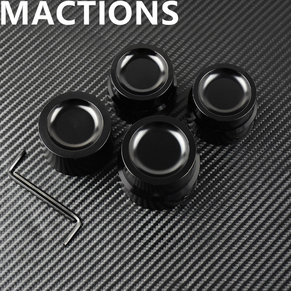 Black Front Rear Axle Nut Cover Cap CNC For Harley Touring Street Road Electra Tri Glide V-Rod Sportster XL883 1200 Softail Dyna