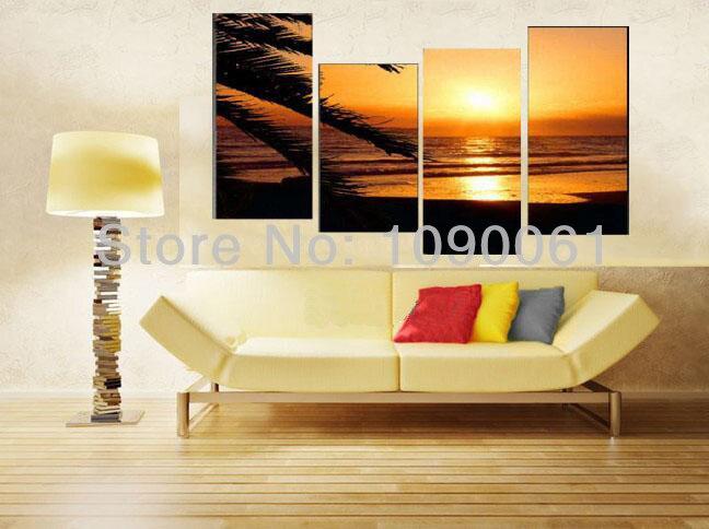 Handmade Modern Palm Trees Sunset Ocean Waves Beach Oil Painting ...