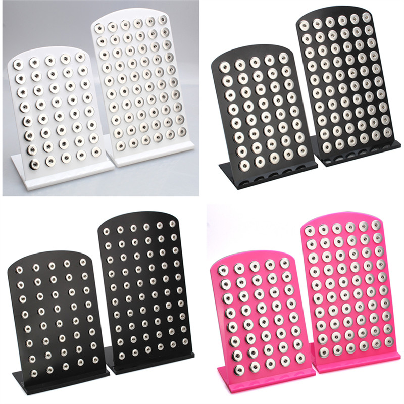 New Snap Button Jewelry White Acrylic Snap Display For 40PCS &60PCS 12MM 18MM Stands Display Detachable Set ZK003