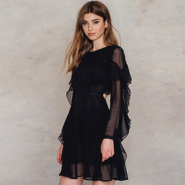 7382497e0badc black dress with chiffon sleeves – Little Black Dress | Black Lace ...