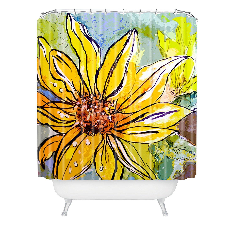 Sunflower shower curtain hooks - Ginette Fine Art Sunflower Yellow Ribbon Shower Curtain 72x72inches China Mainland