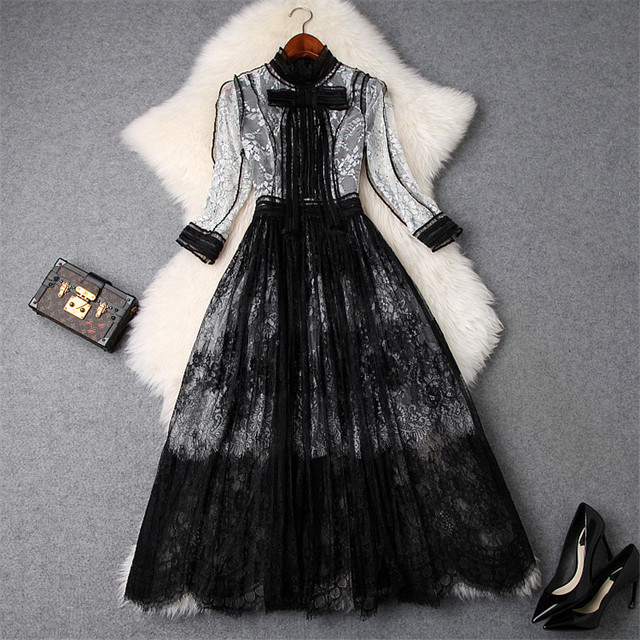 High Quality Runway Designer Woman Dress 2019 Spring Fashion Bowknot White Black Color Block Mid Calf Lace Party Dresses
