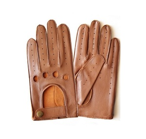 Men's Fall and Winter Genuine Leather Gloves New Fashion Brand Brown Driving Unlined Gloves Goatskin Mittens