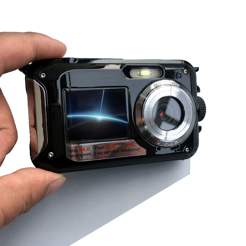 Waterproof Digital Camera Dual Screens Back 2 7 inch Front 1 8 inch HD 1080P 16x