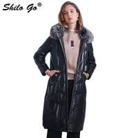 Шило GO подпушка кожаные пальто женские зимние модные овчины из натуральной кожи длинное кожаное пальто с капюшоном Лисий меховой воротник ...