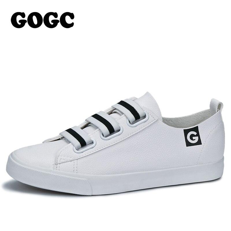 GOGC 2018 Blanc Femmes Sneakers Respirant Doux Dames En Cuir Chaussures Autunm Casual Slip sur Femmes Chaussures de Causalité Chaussures Slipony Femmes