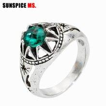 Sunspicems retro vintage bohemia anéis para mulher antigo prata cor jóias de casamento anillo presente