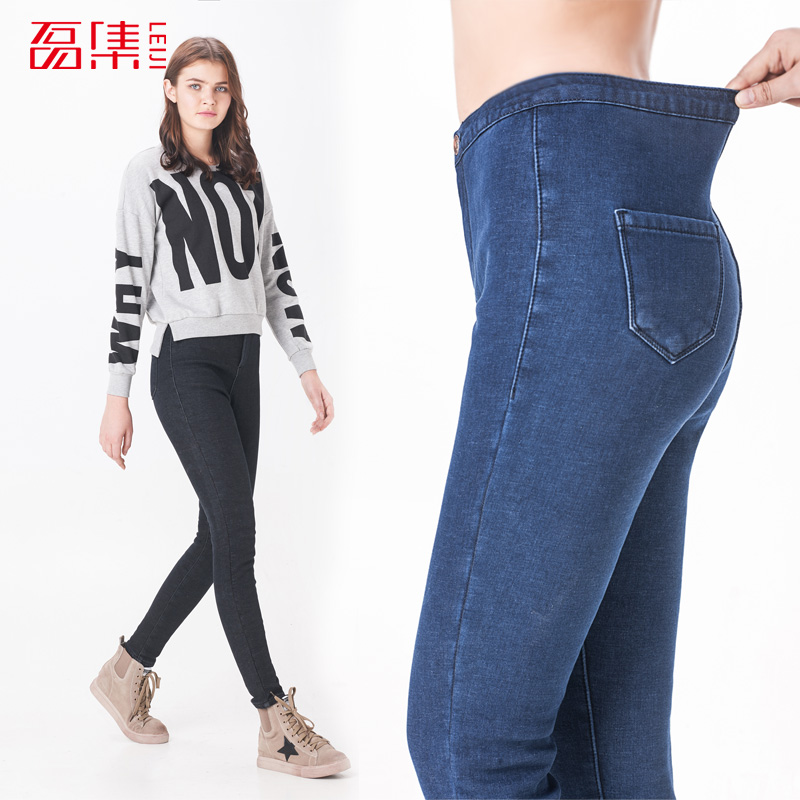 ФОТО 2017 Winter  Denim Velvet  Jeans High Waist Elastic 40-120KG Plus Size Women Skinny Pants Fashion Trousers Fleece Denim