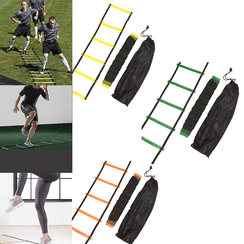 3 4 6 7M 6-14 Rung Football Training Speed Agility Ladder Black Straps Training Ladder Step Soccer Accessories PP Material Strap