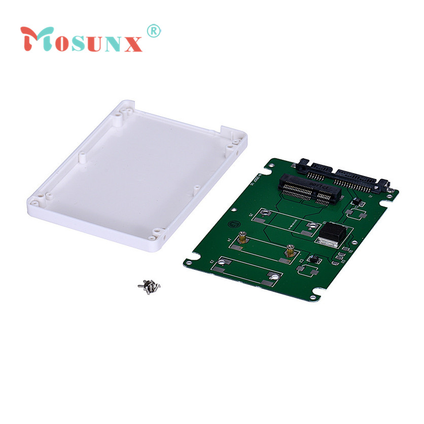 Mosunx SimpleStone  Mini pcie mSATA SSD To 2.5Inch SATA3 Adapter Card With Case 60321 mosunx mecall 2 in 1 mini pci e 2 lane m 2 and msata ssd to sata iii 7 15 pin adapter