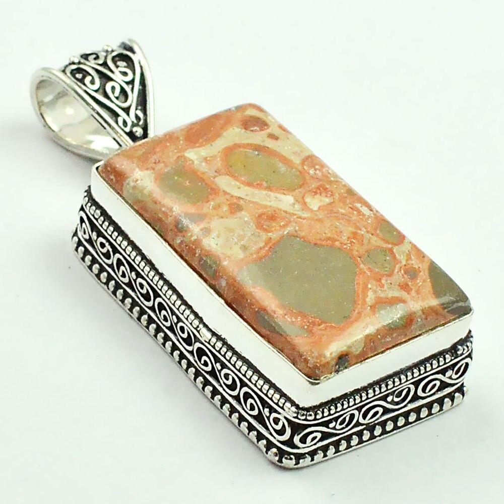 Leopard Skin Jaspers      Pendant   Silver Overlay over Copper , 51 mm, P4834