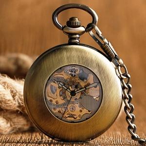 Image 4 - Kendini rüzgar cep saati bakır moda bronz kolye pürüzsüz Retro İskelet Unisex otomatik mekanik şık şükran hediye