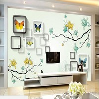 Custom Large Scale Murals 3D Three Dimensional Frame Hand Painted Butterfly TV Backdrop Non Woven Wallpaper