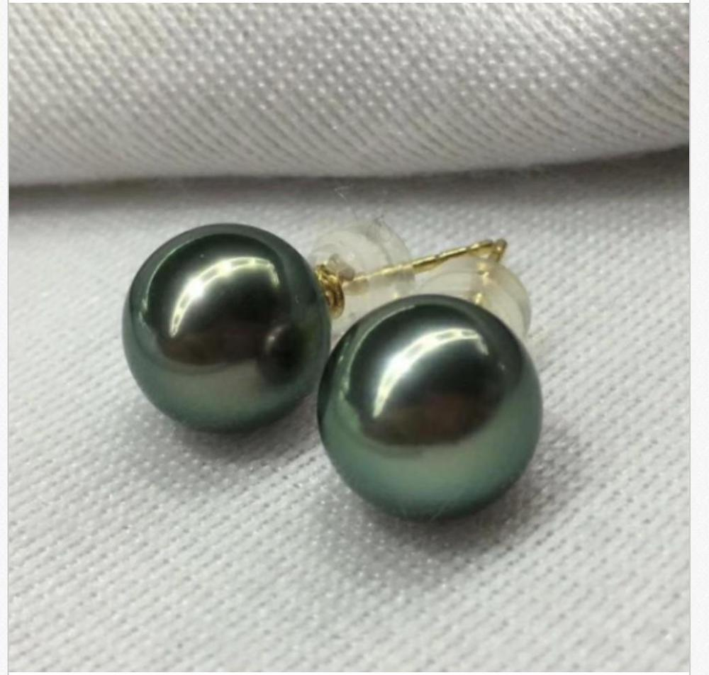 charming pair of 9-10mm tahitian black green pearl stud earring 18kcharming pair of 9-10mm tahitian black green pearl stud earring 18k