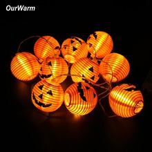 OurWarm Halloween Pumpkin String Lights 3D 10 LED 1.2M Battery Wall Hanging Home Party Props Decorations