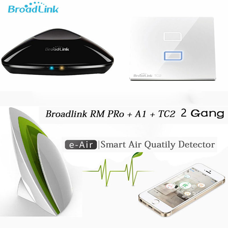 Broadlink Rm Pro Rm33 IR+RF+WiFi Universal Controller+A1 E-Air Detector+TC2 2 Gang EU Light Switch Remote Control For Smart Home in stock 100% xiaomi mi universal smart remote controller home appliances wifi ir switch 360 degree smart for air conditioner tv