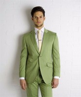 New Style Mens Suits Groomsmen Notch Lapel Groom Tuxedos Olive green Wedding Best Man Suit (Jacket+Pants+Tie)