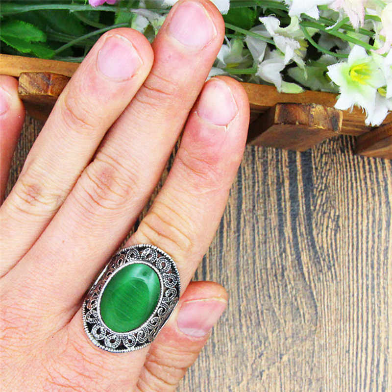 5 สีโอปอลแหวนผู้หญิงคลาสสิกออกแบบดอกไม้โบราณเงินชุบแหวนแฟชั่นเครื่องประดับ TR680