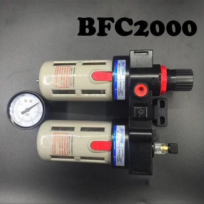 BFC2000 Free Shipping 1/4 Air Filter Regulator Combination Lubricator Gas source processor BFR2000 + BL2000 ,FRL Two Union Trea