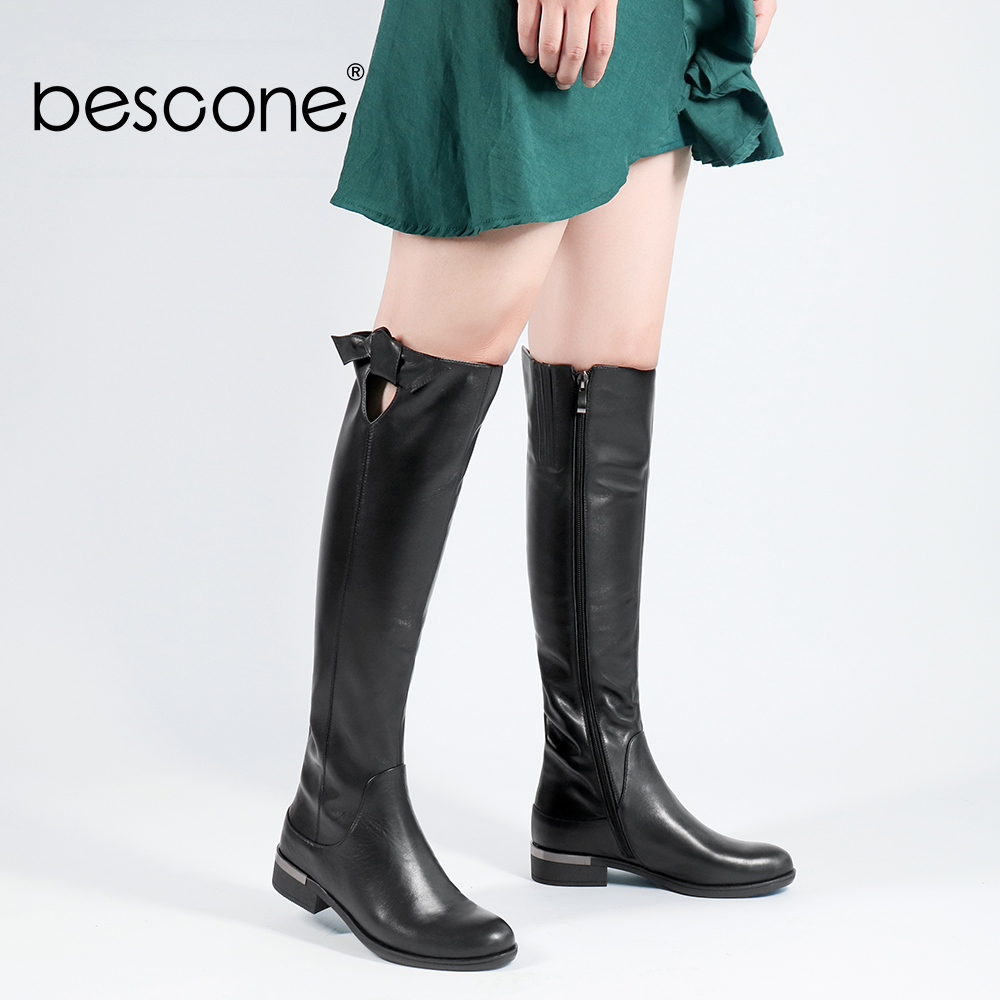 BESCONE Genuine Leather WomenLong Boots Basic Round Toe Knee high Zipper Square Heel Shoes New Casual