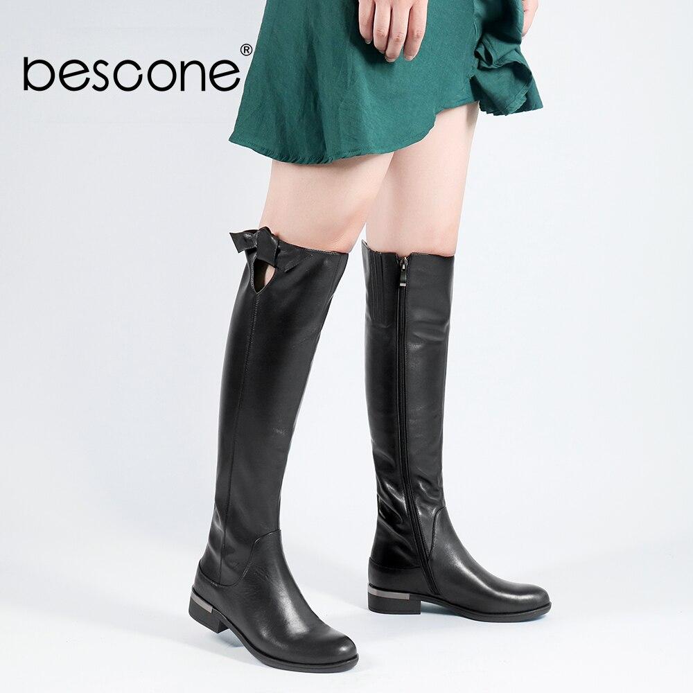 BESCONE bottes longues en cuir véritable 2018 basique bout rond genou-haut Zipper talon carré femme chaussures qualité à la main dame bottes B98
