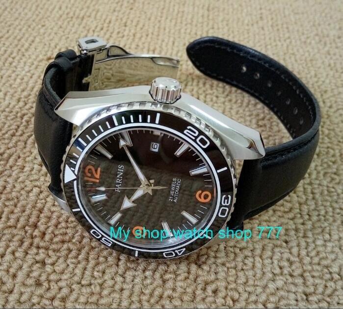 사파이어 크리스탈 45mm parnis 일본 21 보석 자동 자기 바람 기계 운동 도자기 베젤 5atm 남자 시계 02-에서기계식 시계부터 시계 의  그룹 2