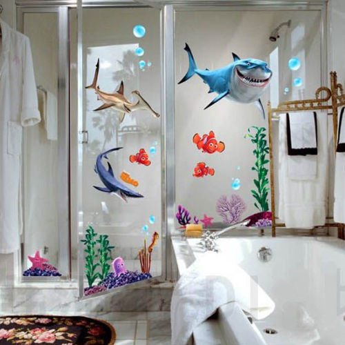 2016 New Under Seabed Wall Sticker Shark Fish 3D NEMO Cartoon Waterproof Vinyl Wall Decals Removable Bathroom Nursery Kids Room