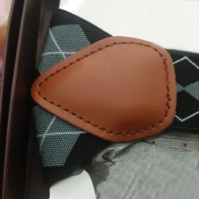 Fashion 3.5*120cm Men Suspenders Y-Shape Jacquard 6 Clips Braces