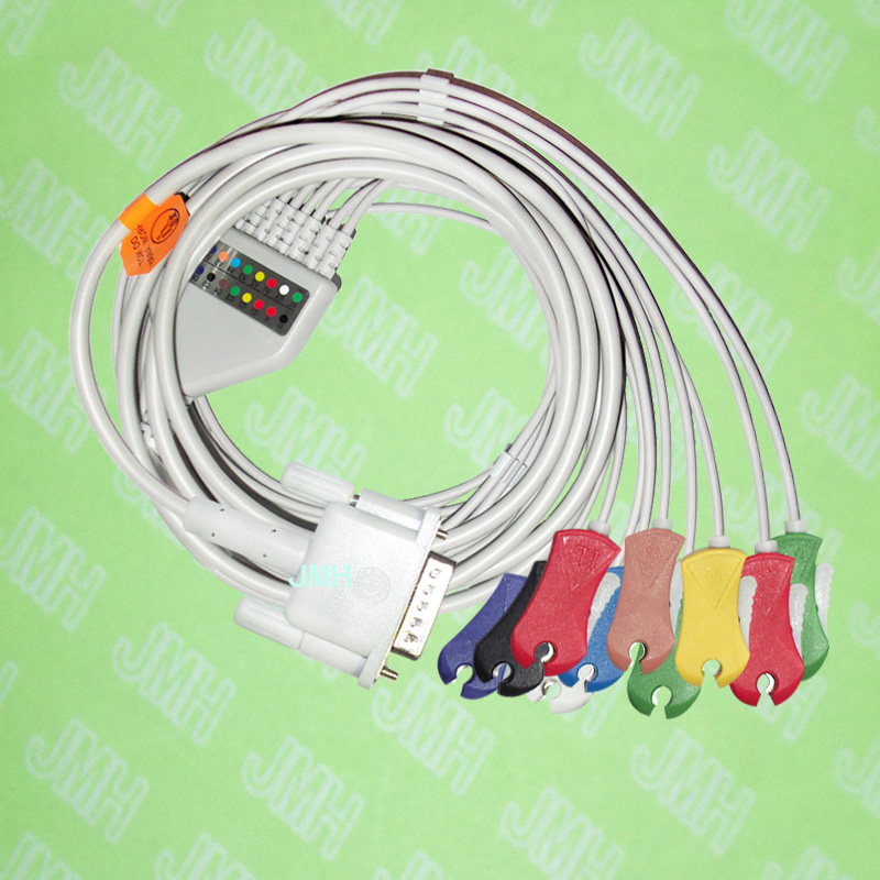 Use for 15 pin Philips(HP) M1772A,M3703C, M2462A EKG Machine the One-piece 10 leads ECG cable and Clip leadwires,IEC or AHA.Use for 15 pin Philips(HP) M1772A,M3703C, M2462A EKG Machine the One-piece 10 leads ECG cable and Clip leadwires,IEC or AHA.