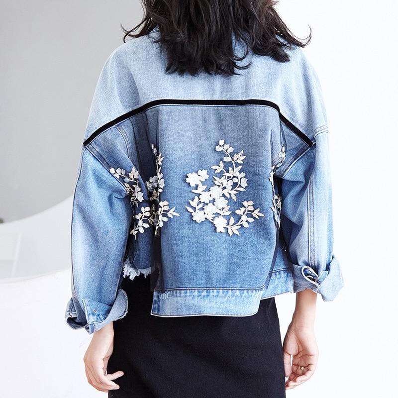 Vêtements Appliques Jeans veste femmes 2019 grande taille coréen Streetwear Denim maille épissure broderie irrégulière manteau femme QH413