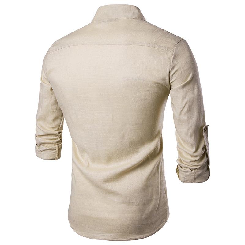 Tunique col Mao beige, manches longues, de dos