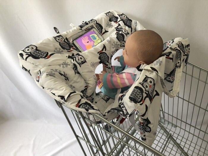 Чехол на колесиках с изображением совы и слона и чехол для стульчика для малышей и младенцев с прозрачным карманом - Цвет: Owl