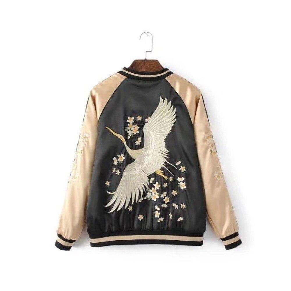 Vintage embroidery   basic     jacket   coat Autumn street satin bomber   jacket   Women reversible baseball   jackets   sukajan
